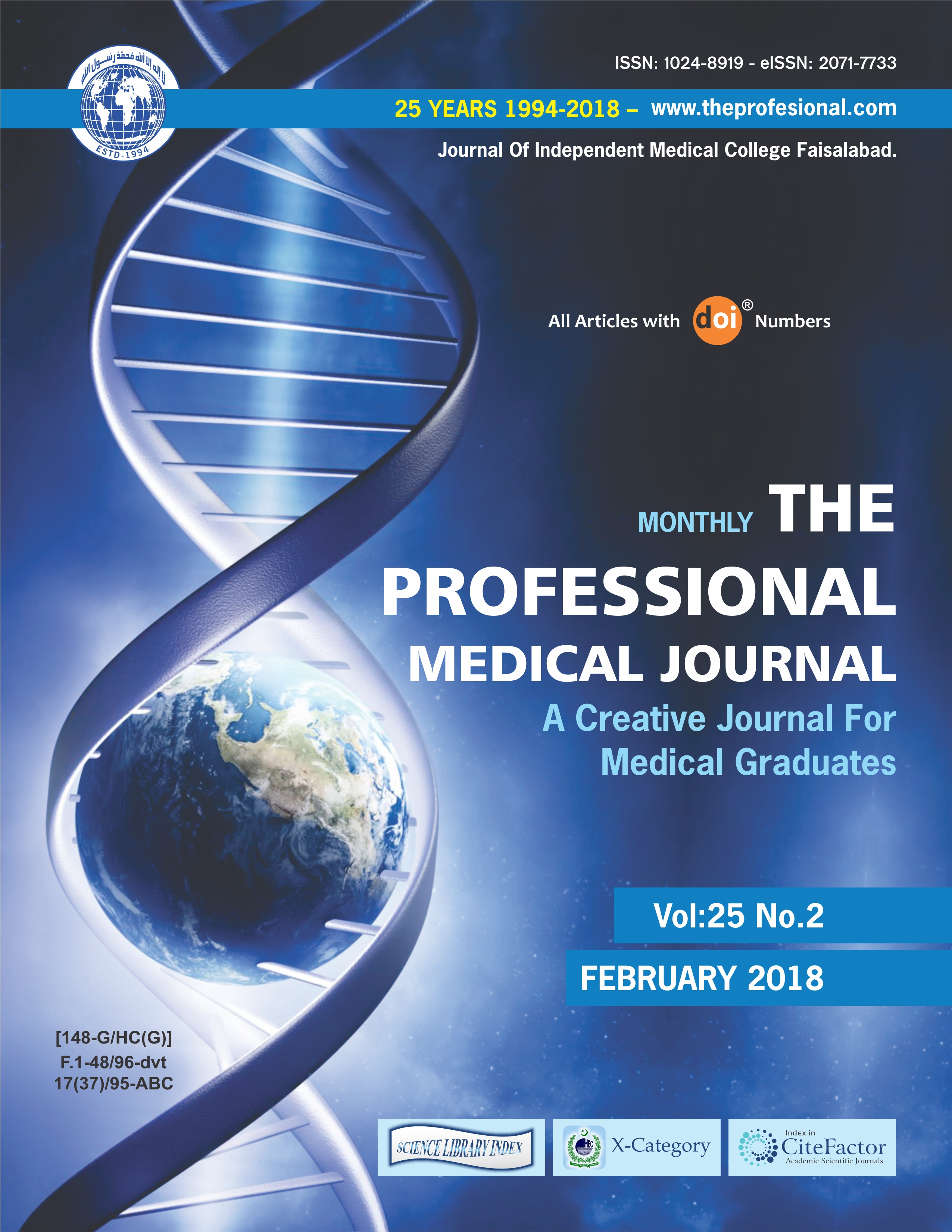 Vol 25 No 02 (2018): Vol 25 NO  02 | The Professional Medical Journal